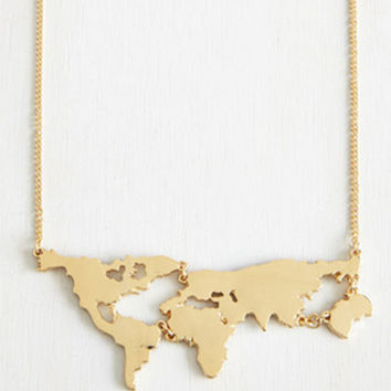 18K Gold plated World Map Pattern Link Chain Charm Necklace
