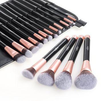 Anjou Makeup Brush Set 16pcs Premium Cosmetic Brushes for Foundation Blending Blush Concealer Eye Shadow Cruelty-Free Synthetic Fiber Bristles PU Leather Roll Clutch Included Rose Golden 16pcs Makeup Brush