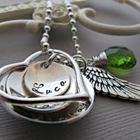Hand Stamped Personalized New Mom Necklace, Baby Name Necklace, Custom Birthstone, Birthdate, Angel Wing Jewelry