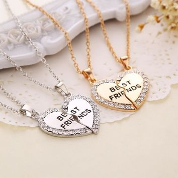 Best Friends Pendant Necklaces Heart Shape BFF necklaces Rhinestone Gold Silver Half Half Gift For Friends Friendship Jewelry