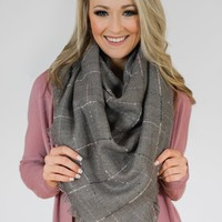The Perfect Blanket Scarf- Grey