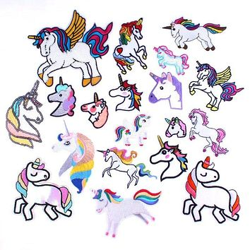 Prajna DIY Fashion Patches Unicorn Horse Rainbow Patches Iron On Patch Sew Embroidery Cute Decor For Clothing Jeans Winter Coat