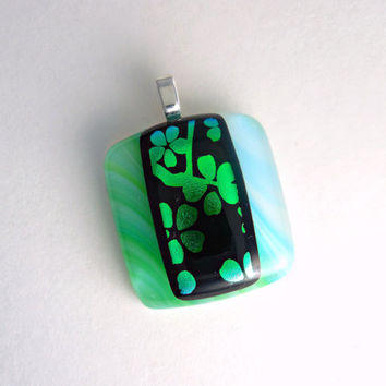 Green and Black Lucky Four Leaf Clover Dichroic Pendant, Fused Glass Necklace, Choker Slide
