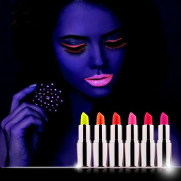 6 Colors Available Glow In The Dark Lipsticks Makeup Shiny Party Fluorescent Luminous Lip Stick Lip Gloss