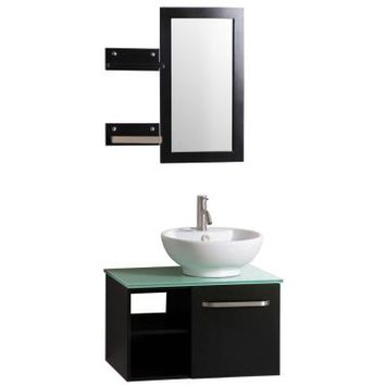 Sheffield Home Palma 27.5 in. Vanity in Dark Wenge with Vitreous China Vanity Top in White and Mirror-EV324 - The Home Depot