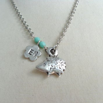 Silver Hedgehog pendant necklace, personalized, initials
