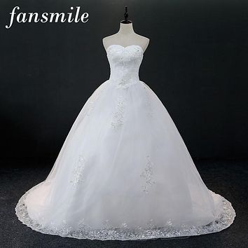 Fansmile Real Photo Cheap Long Train Ball Lace Long Train Wedding Dresses 2016  Plus Size Vintage Vestido de Noiva Free Shipping