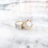 Ivory & Gold Marble Earrings