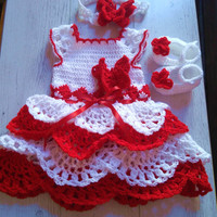 Baby Girl Christmas outfit,  Baby girl first Christmas dress,  Holiday outfit, Baby girl Christmas dress , Christmas dress baby, Crochet