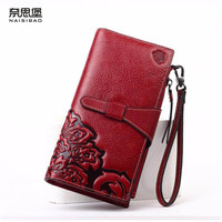 NAISIBAO 2016 new Designer embossed evening cluches  fashion women genuine leather wallets