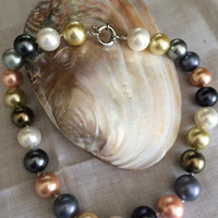 Colorful Pearl Majorca Beads  Necklace hand made pink yellow black white pearl beads knotted pearl  beds necklace Mother's Day birthday gift