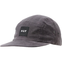 Huf Solid Box Logo Charcoal Corduroy 5 Panel Hat