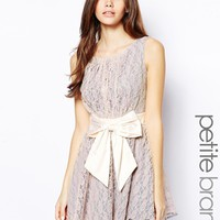 Little Mistress Petite Lace Skater Dress With Bow Waist -