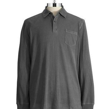 Black Brown 1826 Long Sleeved Polo Shirt