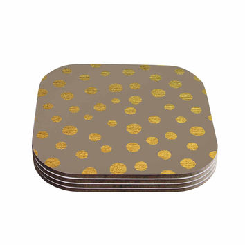 "Nika Martinez ""Earth Golden Dots"" Brown Yellow Coasters (Set of 4)"