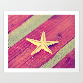 Stars and Stripes on the beach Art Print by Tanja Riedel