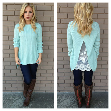 Baby Blue Vintage Lace Back Sweater