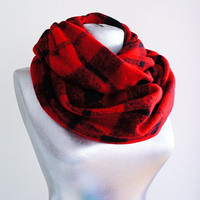 Handmade Plaid Infinity Scarf - Tweed - Red Burgundy - Winter Autumn Scarf