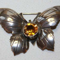 Vintage HOBE Brooch Sterling Topaz Butterfly by patwatty on Etsy
