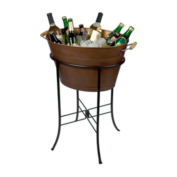 Oasis Party Tub & Stand, Antiqued Copper, Ice Buckets