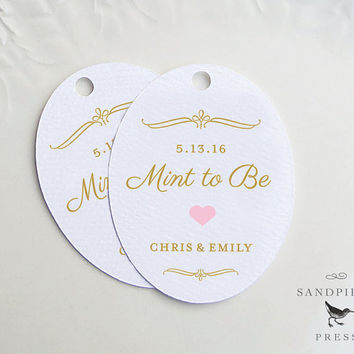 Mint To Be Favor Tag, Personalized Wedding Tag, Gold Pink Heart Oval, Custom Product Label, Shower Gift Bag, Hang Tag, Other Colors- 20 tags