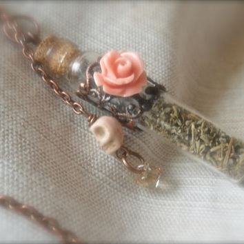 Elena's Vervain Vial bottle Necklace #TheVampireDiaries Herb Rose Swarovski crystal charm Vintage style Filigree Copper metal glass