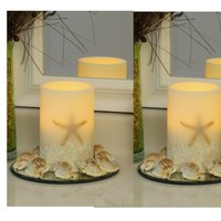 "Oceanside Starfish and Shells 4"" x 6""  Flameless LED Ivory Pillar Candle (Set of 2)"