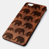 Elephant Pattern Natural wood iPhone case laser engraved iPhone 6 6S 6 Plus 6S Plus case WA046