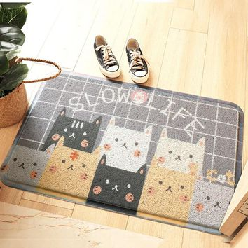 Autumn Fall welcome door mat doormat Kawaii Welcome  Non-slip Kitchen Floor Mat Cute Cartoon Bulldog Carpet Bedroom Rugs Living Room Stair Mats Home Decor Rug AT_76_7
