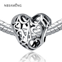 Authentic 100% 925 Sterling Silver Bead Openwork Mom Love Beads Fit Pandora Charm Bracelets & Bangles Necklace YW20076