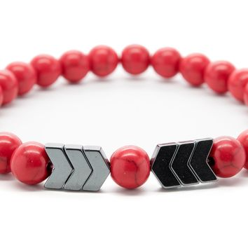 Red Jasper and Hematite Gemstones Beaded Bracelet for Men and Women