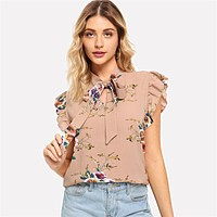 Flounce Shoulder Tied Neck Floral Blouse Pink Ruffle Sleeveless Chiffon Blouses Women Casual Elegant Tops
