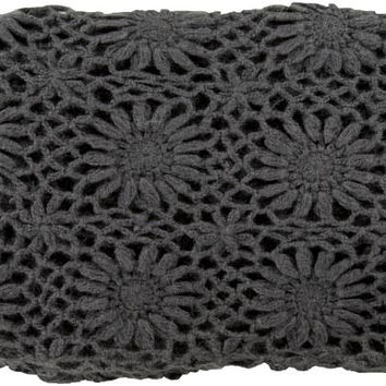 Surya Teresa 50 by 60 inches Crocheted Acrylic Throw, Gray