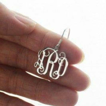 Initial Earrings / Sterling Silver / Monogram / Gifts / Bridesmaid