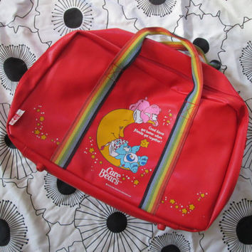Vintage Care Bears 80s Red Duffle Weekender Vinyl Bag