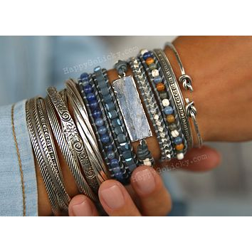 Kyanite 5x Leather Wrap Bracelet