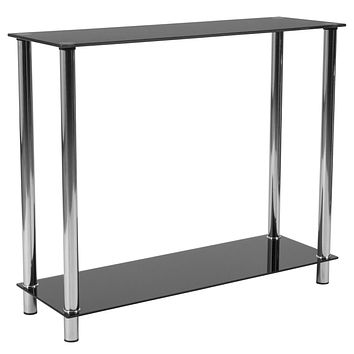 Riverside Collection Console Table with Shelves and Metal Frame