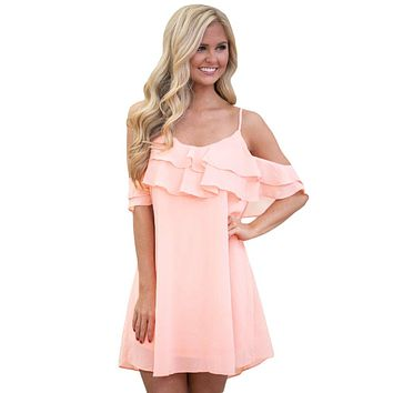 Pink Ruffle Double Layered Short Dress