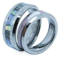 One Pair of Comfort Fit High Polish Tungsten Carbide Ring 8mm (Size 7-12 Available) with Abalone Inlay Inlay His & 6mm (Size 4-12 Available) with Pink Shell Inlay Hers Set Aniversary/engagement/wedding Bands. Please E-mail Sizes