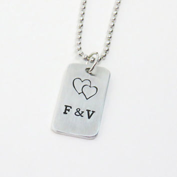 Personalized couple pendant necklace - Initials pendant girlfriend necklace boyfriend necklace couple jewelry with overlapping hearts