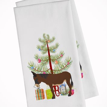 Zamorano-Leones Donkey Christmas White Kitchen Towel Set of 2 BB9220WTKT