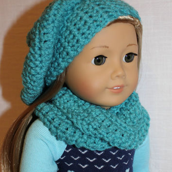 aqua blue beret style crochet slouch hat with infinity scarf,  18 inch doll clothes American girl Maplelea