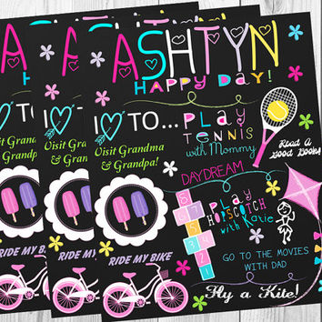 Chalkboard Poster/All About Me/Summer Time/Pink/Girly/Purple/Photo Prop/Party Decor/Printable/Custom Digital/Personalized/Any Age/Wall Art