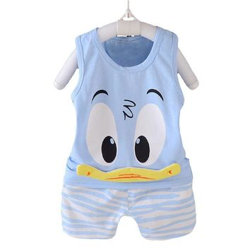 Boys Clothing Sets Children Clothing Baby Fashion Cartoon Donald Duck Vest T-shirt Shorts Suit Toddler Cotton Sports Clothes