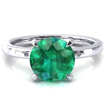 Maise Round Emerald 4 Prong Diamond Accent Engagement Ring