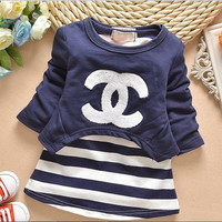 Baby Girls Striped CC Chanel Dress