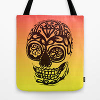 Sugar Skull - Ombre Red and Yellow Tote Bag by Sewzinski | Society6