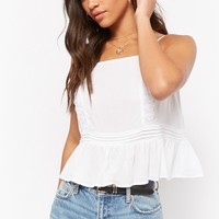 Semi-Sheer Shirred Lace Pintucked Cami