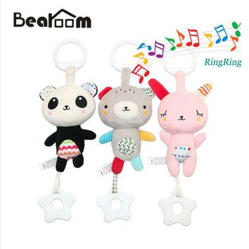 Bearoom Rattle Toys For Baby Musical Mobile Toy Soft Toddler Teether Cute Animal Rattles For Newborn Baby Mobil Crib Hand Bell