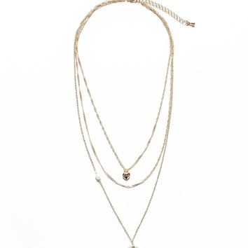 Horn & Coin Layered Necklace - Gold